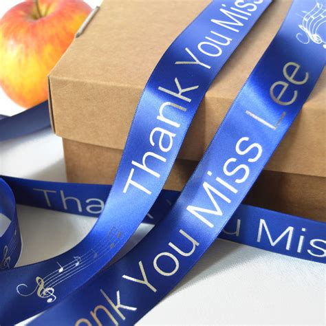 Thank You Teacher 25mm Personalised Printed Ribbon By