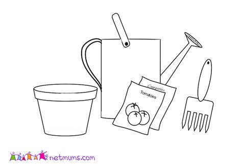 Printable Garden Tools Coloring Pages Archives Kids