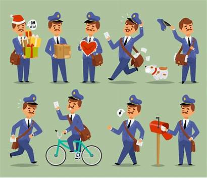 Cartoon Postman Mail Carrier Delivery Package Character
