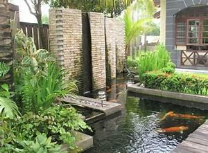 Fontaine Pour Bassin A Poisson : designs jolis et spectaculaires de jardin aquatique ~ Voncanada.com Idées de Décoration