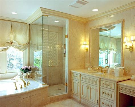 elegant crown molding in chic bathroom design decoist