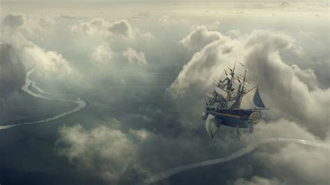 clouds flying ship wallpaper