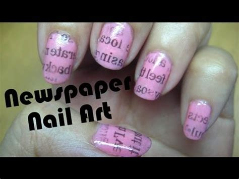 newspaper nail art tutorial youtube