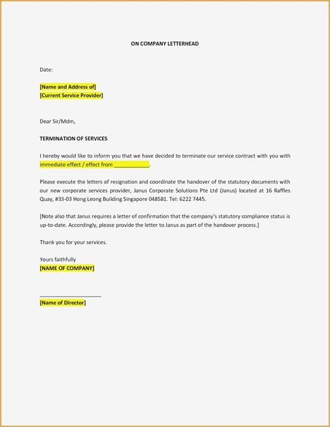 service contract termination letter template apparel