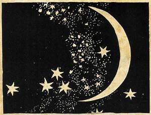 Moon and Stars Art Print Elegant Paper Cut Night Sky