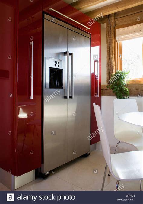large stainless steel american style fridge freezer