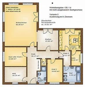Bungalow Grundriss 4 Zimmer : winkelbungalow 136 14 einfamilienhaus neubau massivbau stein auf stein ~ Pilothousefishingboats.com Haus und Dekorationen