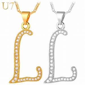 U7 capital initial letter l pendant charm gold color new for Gold necklace with letter l