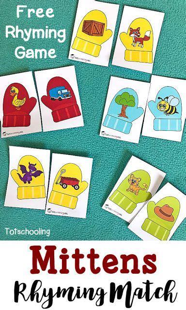 mittens rhyming match up teaching preschool rhyming 692 | a7994ee7302996df2093334e98864a7c
