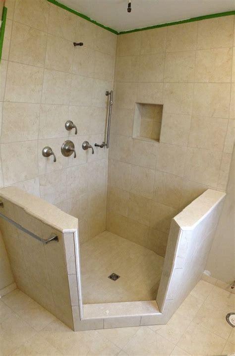 stand  shower  knee walls schluter shower kit
