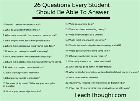26 Questions To Ask Students In The First Week Of School
