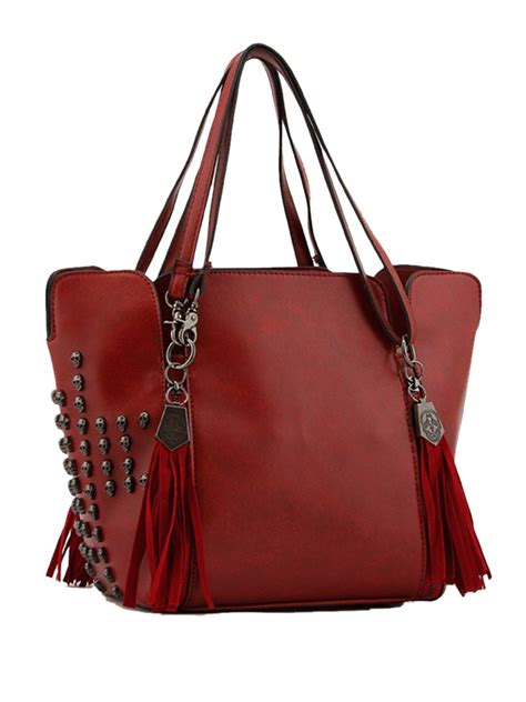 Wine Red Skull Studs Tote Bag Style Winter