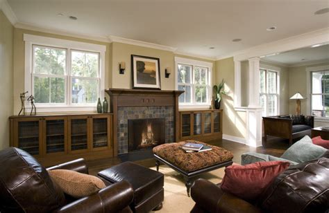 Family Room Fireplace & Built Ins   Craftsman   Family