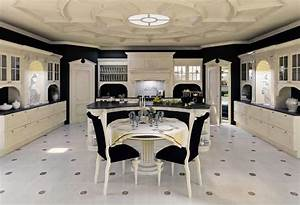 Kitchen in lacquered wood, for classical dining room