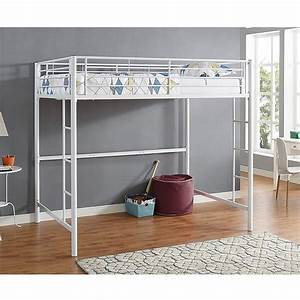 White Metal Bunk Beds with Desk for Children
