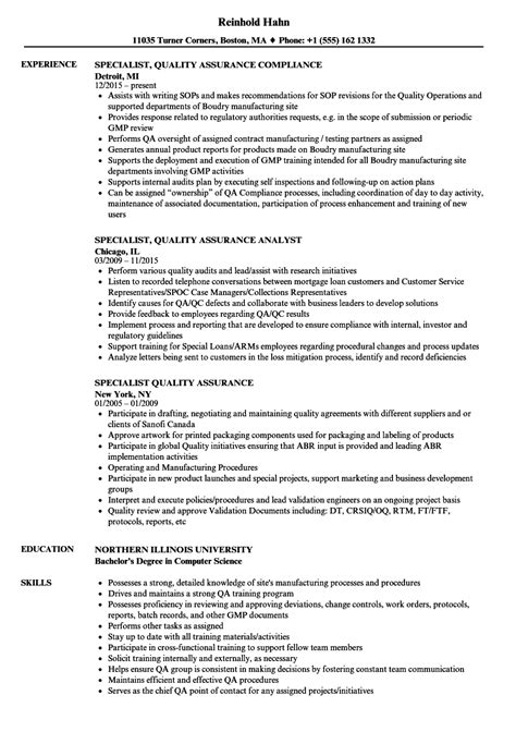 Quality Specialist Resume by Specialist Quality Assurance Resume Sles Velvet