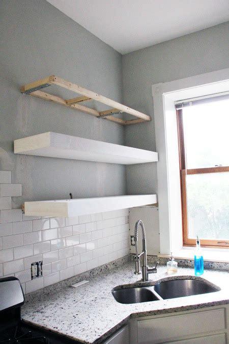 bigger stronger kitchen floating shelves ana white