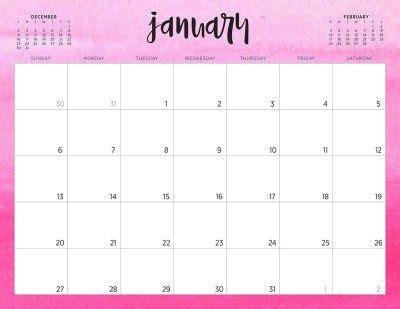 january  calendar pink design  calendar