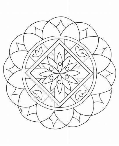Mandala Mandalas Coloring Easy Simple Children Drawing