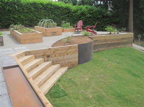 wood post retaining wall pictures to pin on