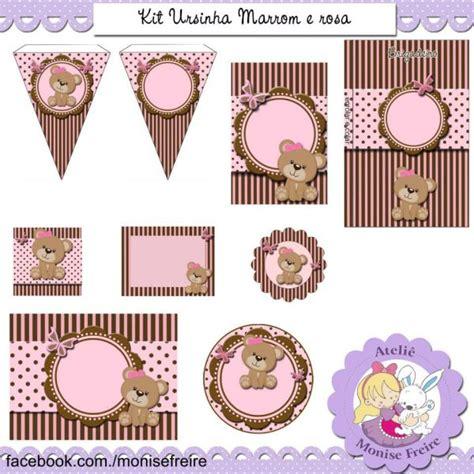 kit festa digital 10 artes ursinhas marrom e rosa ateli 234 monise freire