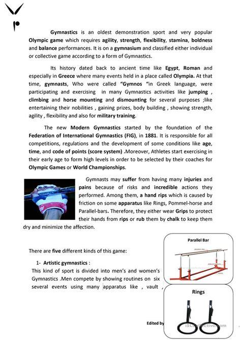 gymnastics worksheet  esl printable worksheets