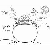 Cauldron Witch Coloring Witches Pages Halloween Printable Freeprintablecoloringpages Template Printables sketch template