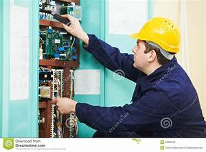 Electrician At Safety Fuse Device Replace Work Royalty Free Stock Photos