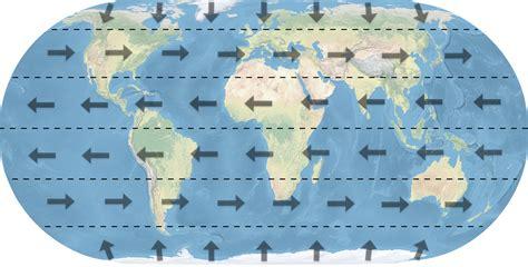 Map Prevailing Winds Around World