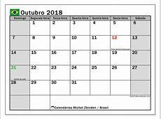 Calendários para imprimir outubro 2018 Brasil