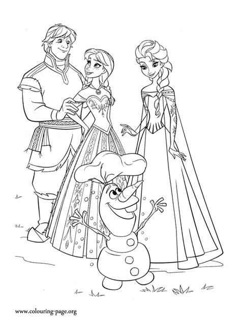 frozen anna kristoff elsa  olaf happy coloring page