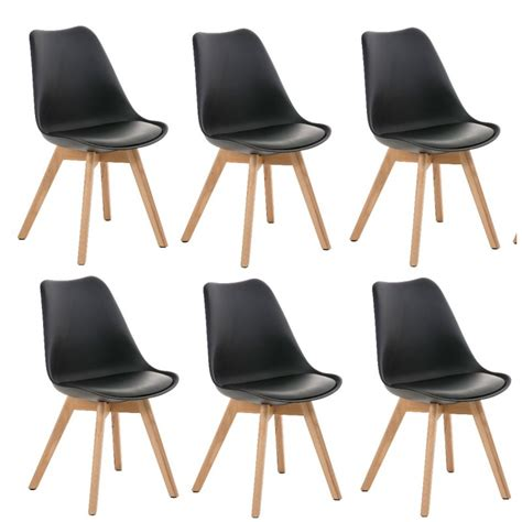 chaise salle a manger noir lot de 6 chaises de salle à manger scandinave simili cuir noir pieds bois cds10204 décoshop26