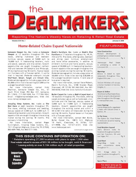 Lemoyne Sleeper by Dealmakers Magazine January 9 2009 By The Dealmakers