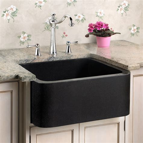 18 quot polished granite farmhouse prep sink black