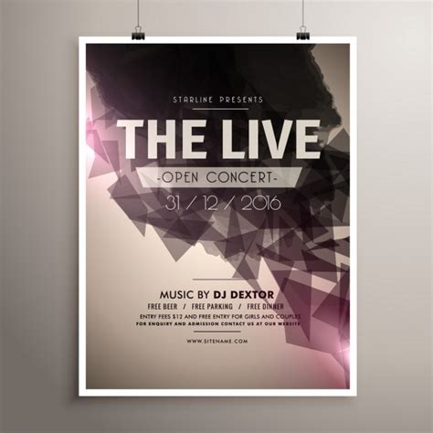 concert banner template psd free concert poster of geometric shapes vector free download