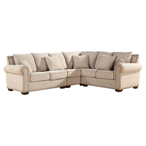 sectional sofa with nailhead trim linen sectional sofa with nailhead trim dream home