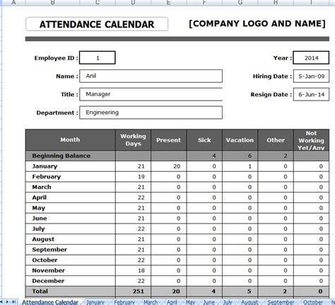 employee attendance sheet format  excel