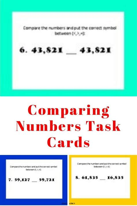 comparing numbers task cards  images comparing numbers