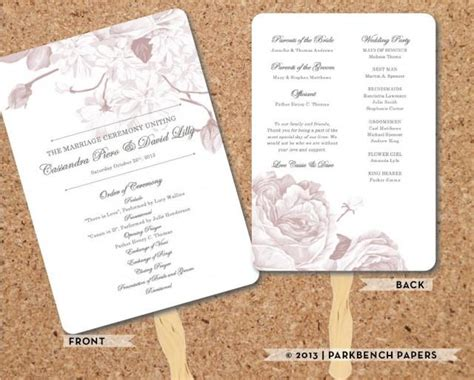wedding program bold floral fan rose diy editable