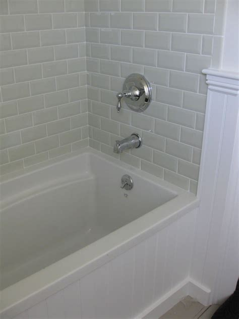 shower tub subway tile ideas the beveled subway tile master bathroom for the Shower Tub Subway Tile Ideas