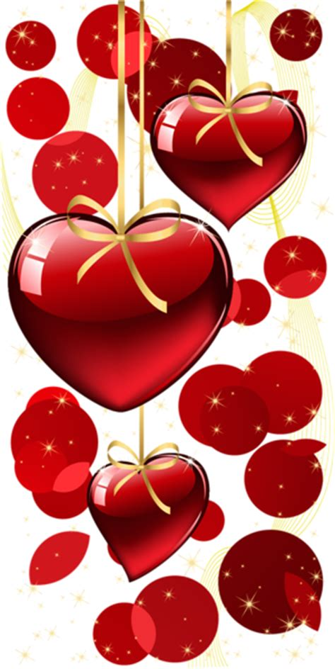 red hanging hearts  dots decor png clipart gallery