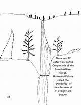 River Columbia Gorge Coloring Oregon Designlooter Visit Waterfalls Side Grandaddy Multnomah Falls Called sketch template