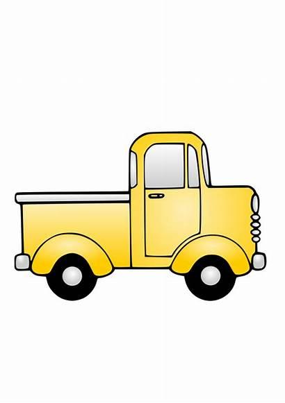 Truck Clip Clipart Yellow Cartoon Pickup Semi
