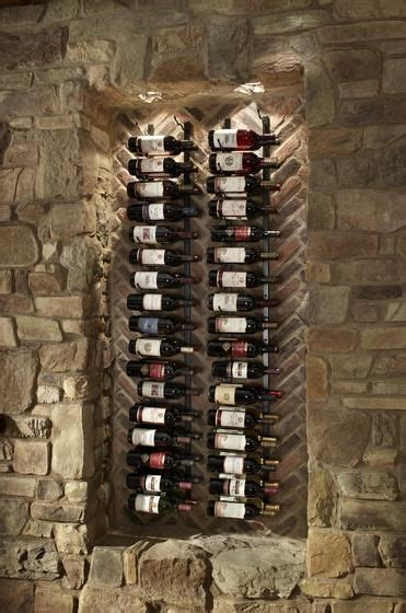 stone  brick dining room accent wall  wine rack