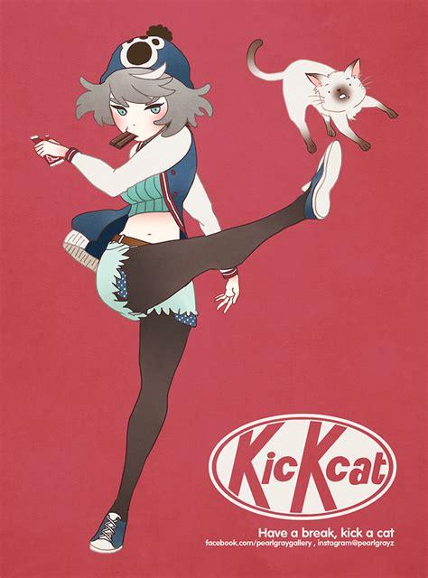 kick cat  pearlgraygallery  deviantart