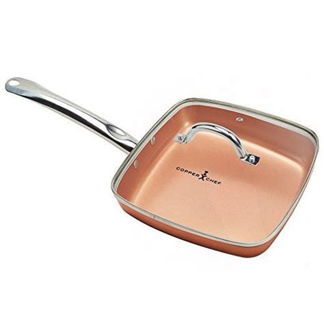 copper chef square fry pan  lid   kitchen hobby