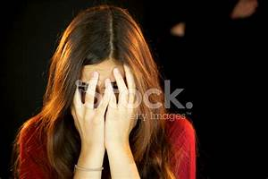 Girl Hiding Scared With Behind Her A Black Man stock ...