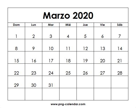 foto de Marzo Calendario 2020 Para Imprimir Spanish Calendar