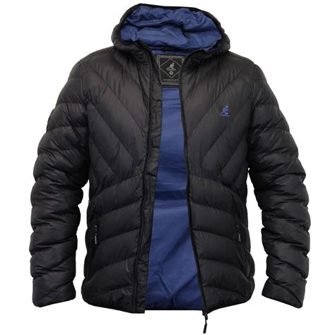 mens quilted jacket mens jacket kangol coat padded quilted hooded puffer