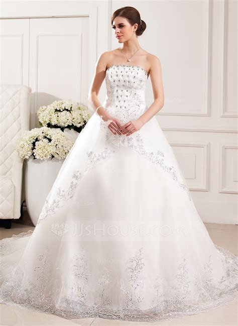 Ball Gown Strapless Cathedral Train Tulle Wedding Dress